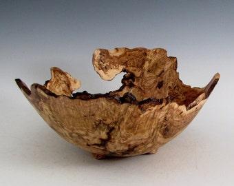 Rustic Oak Burl Wood Turned Bowl - Housewarming Gift - Wedding Gift- Hand Made Wood Bowl