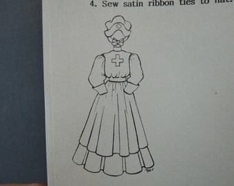 Vintage Doll Clothing Pattern - early 1900s Red Cross Nurse Uniform for 23-24 inch Doll - Brown House Dolls