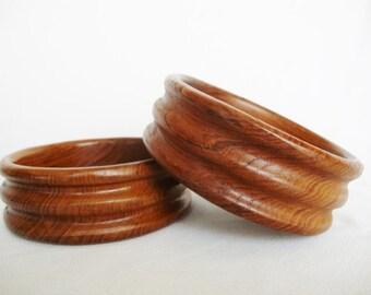 vintage teak wood bowls ringed 2 salad bowl bowls midcentury style