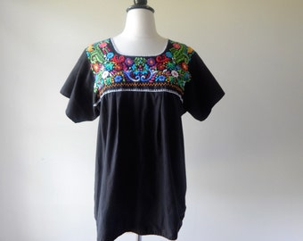 Boho tunic | vintage 1970s cotton blouse | embroidered 70s peasant blouse
