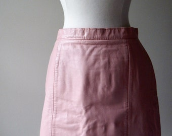 Vintage 80s cotton candy pink leather skirt