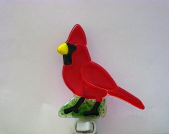 Fused Glass Cardinal Nightlight, Glass Bird Nightlight, Bird Night Light, Red Nightlight