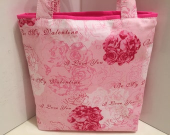 Valentine's Day, Fabric Gift Tote Bag, Gift Wrap, Wrapping Paper, Sweetheart, Love Gift Bag, Tote for Sweets, Pink Roses, Love Script