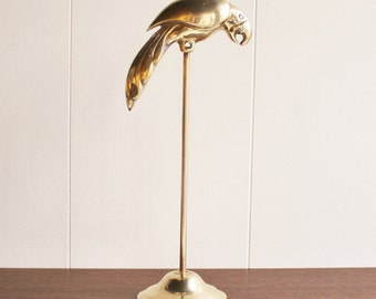Vintage brass parrot on a stand, Georges Briard