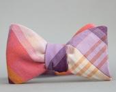 mens bubblegum and grape plaid freestyle bow tie