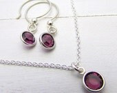 Birthstone Earring Necklace Set, Choose Earrings, Necklace Or Set, .925 Sterling Silver, Swarovski Crystal Bezel