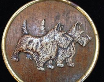 Vintage Scotty dog on wood brooch/pin