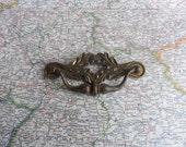 SALE! 1 Curvy vintage acorn motif brass metal pull handle*