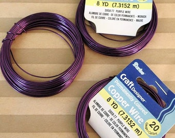 Craftwire 20 Gauge GRAPE PURPLE 8 yards Copper Base Wire Wrapping Jewelry Beading Nontarnish Craft Wire Colored