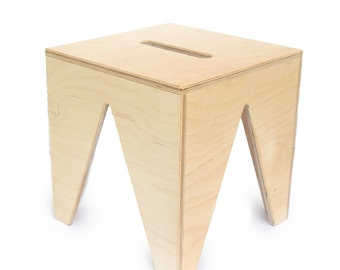 Wooden Modern Triangle Stool - Child Stool - Kids Step - Birch Stool - Wood Step - Personalized Stool - Birch Step - Toddler's Step -FR16