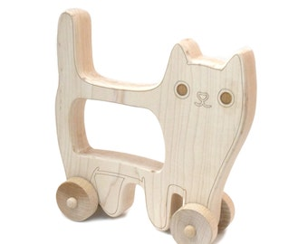 Cat Wooden Push Toy - Handmade Wooden Toy - Push Toy - Play Cat - Toddler Toy - Birthday Gift - Cat - Wood Toy - Rolling Toy -TY35