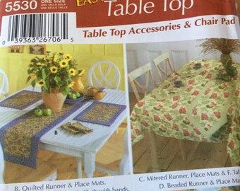 Simplicity 5530 Table Accessories, Table cloth, Runners, Placemats, Napkins, Uncut