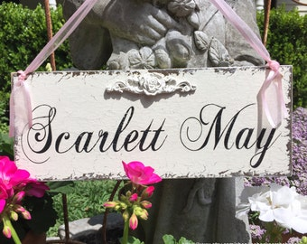 CUSTOM NAME SIGN, Door Sign, Baby Shower Gift, Rose Detail, New Baby Sign, 4 3/4 x 12