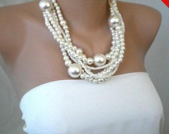 Sale - Huge Pearls, Handmade Bridal Pearl Necklace