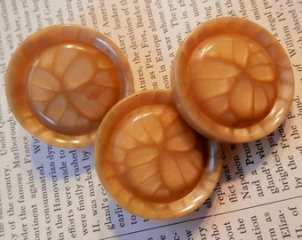 VINTAGE BUTTONS Set of 3 Rich Caramel Large Size Interesting Design and Details