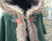 "Fur Trimmed Medieval Druid Capelet ""Derwyn"" Oak Leaves Acorns"