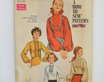 1960s Simplicity Sewing Pattern 8416 Womens Blouse w/ Long Puff Sleeves & Stand Up Collar Size 14