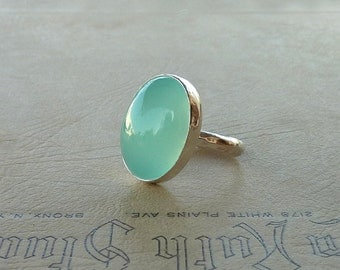 Aqua ring, Chalcedony ring, Aqua Chalcedony ring, Chalcedony cocktail ring, Oval Aqua Chalcedony Gemstone ring, Chalcedony statement ring