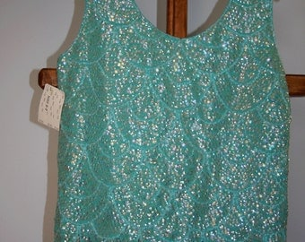 Vintage 1960s  Sequin Beaded Shell Unworn With Tags  Wool Sequin Bead Tank Top Sleeveless Sweater Fringe Tank Top
