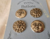 Set of 4 Danforth Pewter Metal Sun & Moon Face BUTTONS