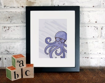 Octopus in Glasses: 8x10 Archival Art Print