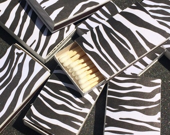 10 Zebra Matchboxes - Gift - Party Wedding Favors