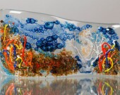Fused Glass Decorative Panel - BluDragonfly SRA - Seahorse/Ocean Scene - Medium Glass Panel