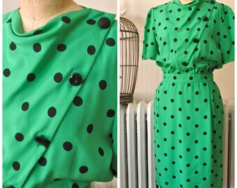 Valentino | Vintage 1980's Kelly Green and Black Polka Dot Dress Asymmetrical Button Front Side Pockets- Made in Italy