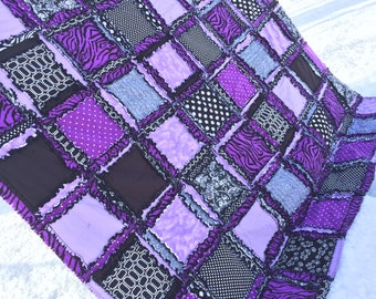 Zebra Bedding Girls Twin Quilt - Black / Purple Bedding - Paris Bedding Twin - Twin Size Rag Quilt Dorm Bedding Girls Bedroom - Rag Blanket