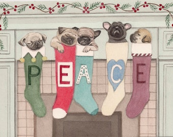 12 Christmas cards: Pugs hung by chimney with care / Lynch folk art