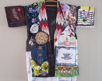 GEISHA PATCHWORK KIMONO Couture - Altered Antique Fabric - Vintage Linens Fabric Collage  - Japanese Asian Wearable Folk Art   - mybonny