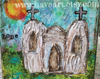 HOPE Little Church Mixed Media Painting 6x6