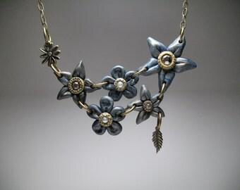 Blue Flowers Necklace - Statement Necklace - Floral Bib Necklace