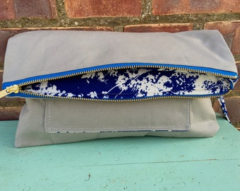 Foldover Clutch with Outside Pocket, Gray Canvas