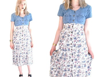 90s floral denim dress 90s grunge vintage button up baby doll dress