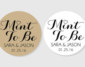 Mint To Be Personalized Wedding Stickers - kraft or white - assorted sizes - 1.5 inch - 2 inch - 2.5 inch - 3 inch - Bridal Shower