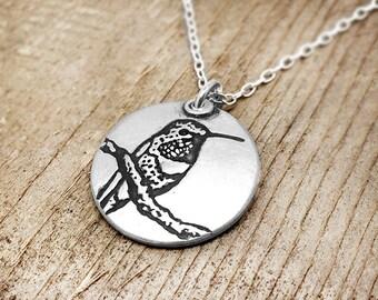 Hummingbird necklace, silver hummingbird jewelry, bird necklace, bird jewelry, gift for her, gift for wife, girlfriend gift