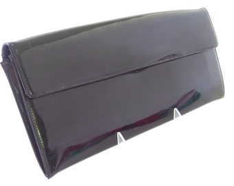 Vintage 1970's Black Patent Leather Ronay Envelope Clutch Purse
