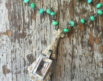20%OFF SALE Vintage Rosary Inspired Reclaimed Upcycled Steel Cut Button Necklace on Sterling with green onyx, Gifts under 65, Gifts for Her
