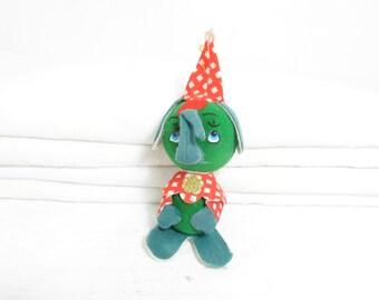 Vintage Elephant Ornament . 1950's Christmas Decoration . Felt Green Flocked Elephant . Holiday Decor