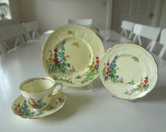 Crown Staffordshire Hollyhock Cup Saucer 4 Piece Porcelain Pattern No 742202 Antique Circa 1920 Made in England Style 4 - EnglishPreserves