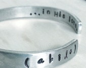 a b i d e - in his love. Handstamped Silver Cuff Bracelet