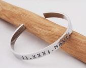 Roman Numeral Date Bracelet , 10th Anniversary Gift, Aluminum Cuff, Aluminum Bracelet, Unisex Cuff