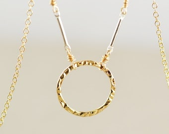 Circle Necklace, Minimal Gold Necklace