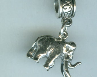 Sterling 3D WOOLY MAMMOTH Bead Charm for  All Name Brand Add a Bead Charm Bracelets - Prehistoric, Dinosaur