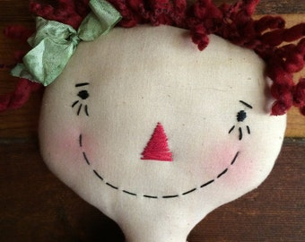 Sweet Cherry Annie Raggedy Ann doll rustic primitive decor, cupboard doll by Starry Nites Farm Hafair TeamHaha ofg FAAP haguild norga nooga