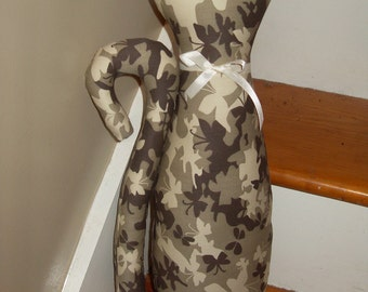 Tall cat pillow butterfly camoflage brown cream taupe accent kitty