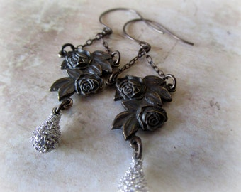 Miraculous Medal Rose and Crystal Earrings