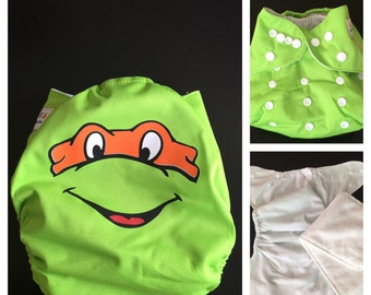 Ninja Turtle Cloth Diaper - Pocket Cloth Diaper - Michaelangelo