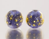 Lampwork Bead Pair - Shimmer in ink blue. Lampwork glass beads by Jennie Yip